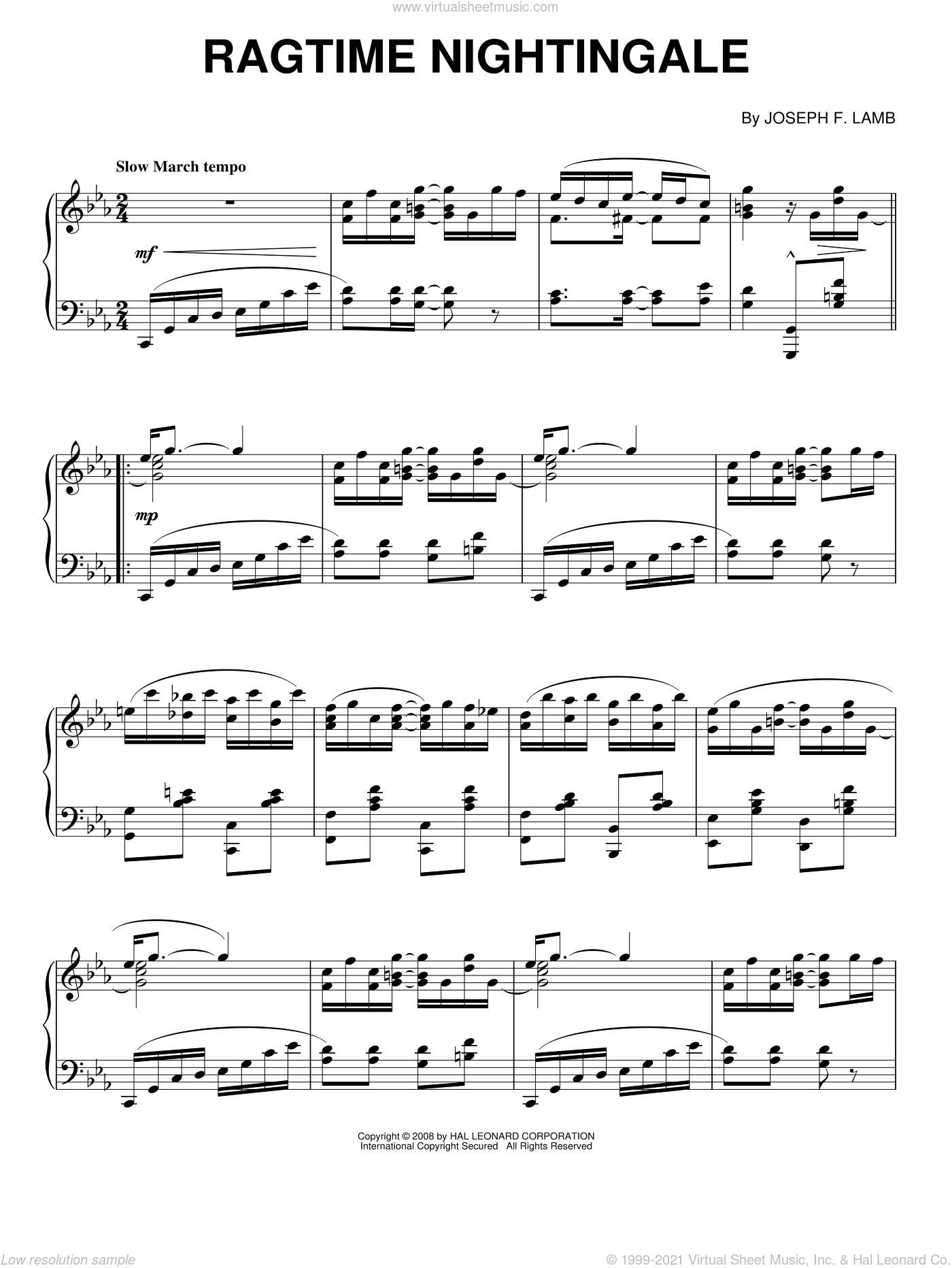 Ragtime Nightingale sheet music for piano solo by Joseph Lamb, intermediate skill level