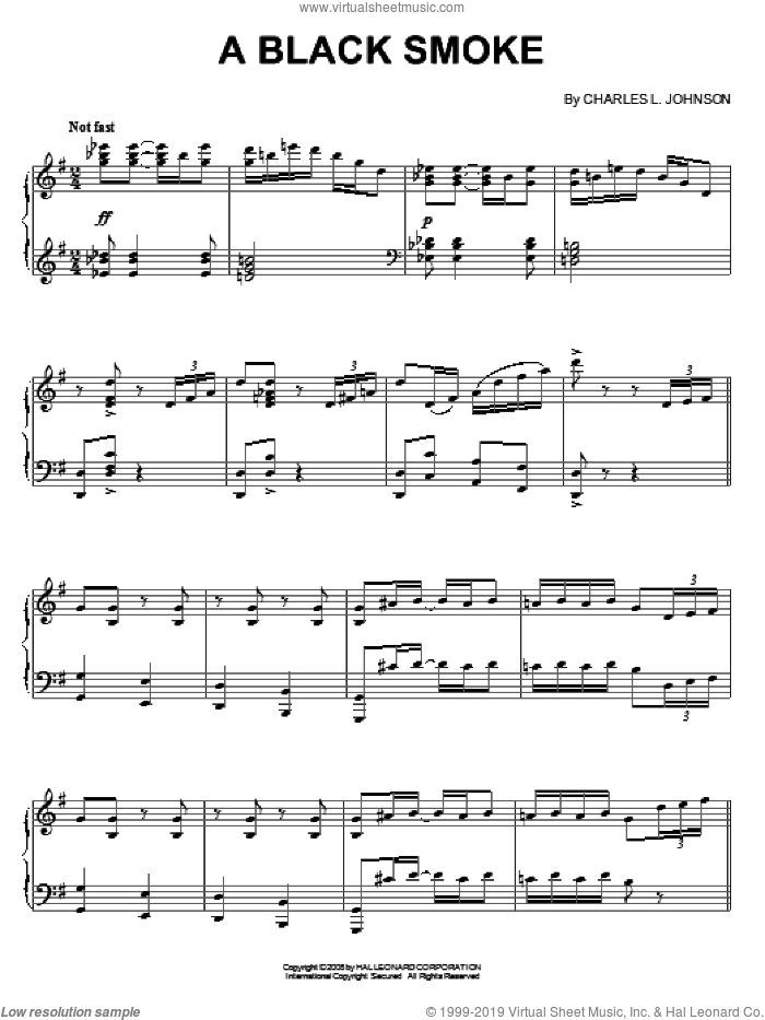 A Black Smoke sheet music for piano solo by Charles Johnson, intermediate. Score Image Preview.