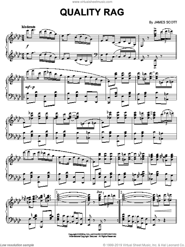 Quality Rag sheet music for piano solo by James Scott, intermediate skill level