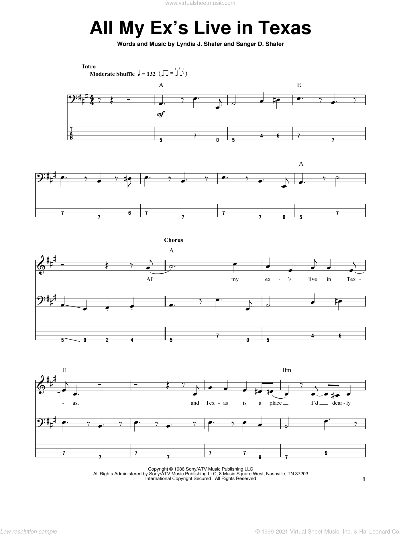 All My Ex's Live In Texas sheet music for bass (tablature) (bass guitar) by Sanger D. Shafer and George Strait. Score Image Preview.
