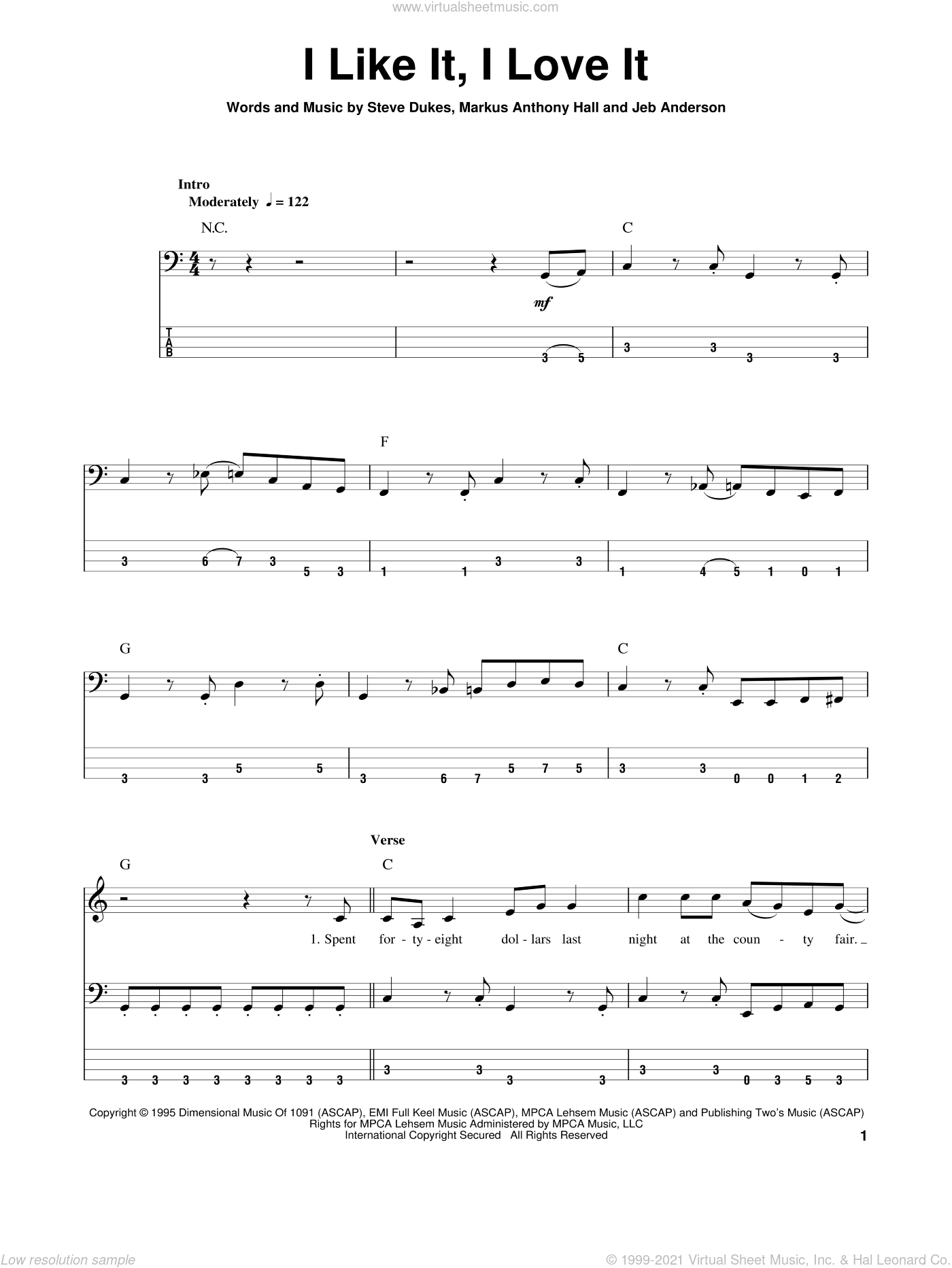 I Like It, I Love It sheet music for bass (tablature) (bass guitar) by Tim McGraw and Steve Dukes. Score Image Preview.