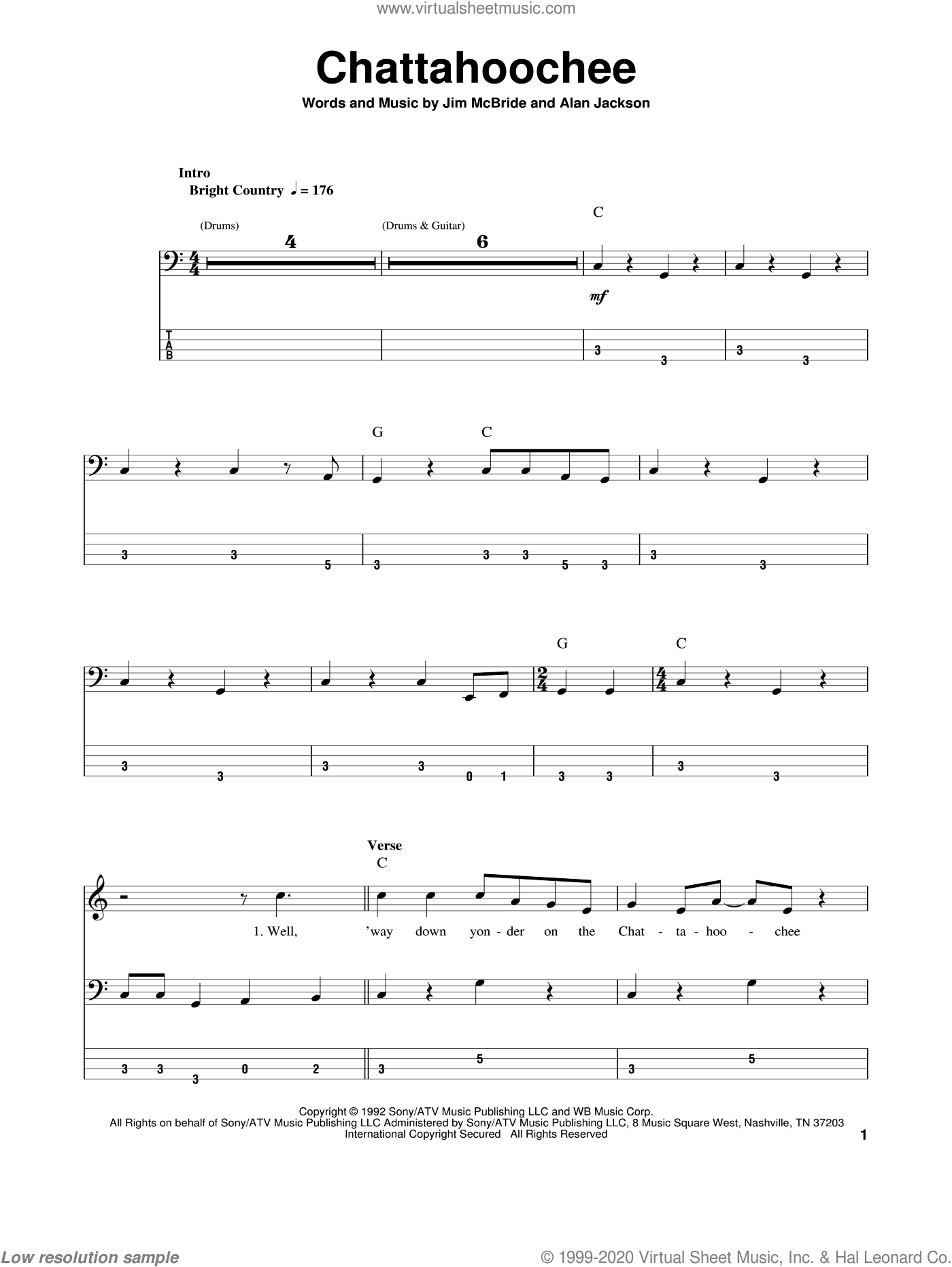 Chattahoochee sheet music for bass (tablature) (bass guitar) by Alan Jackson and Jim McBride, intermediate skill level