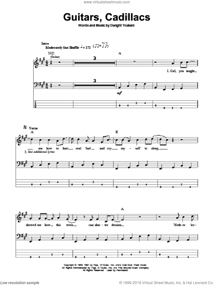 Guitars, Cadillacs sheet music for bass (tablature) (bass guitar) by Dwight Yoakam