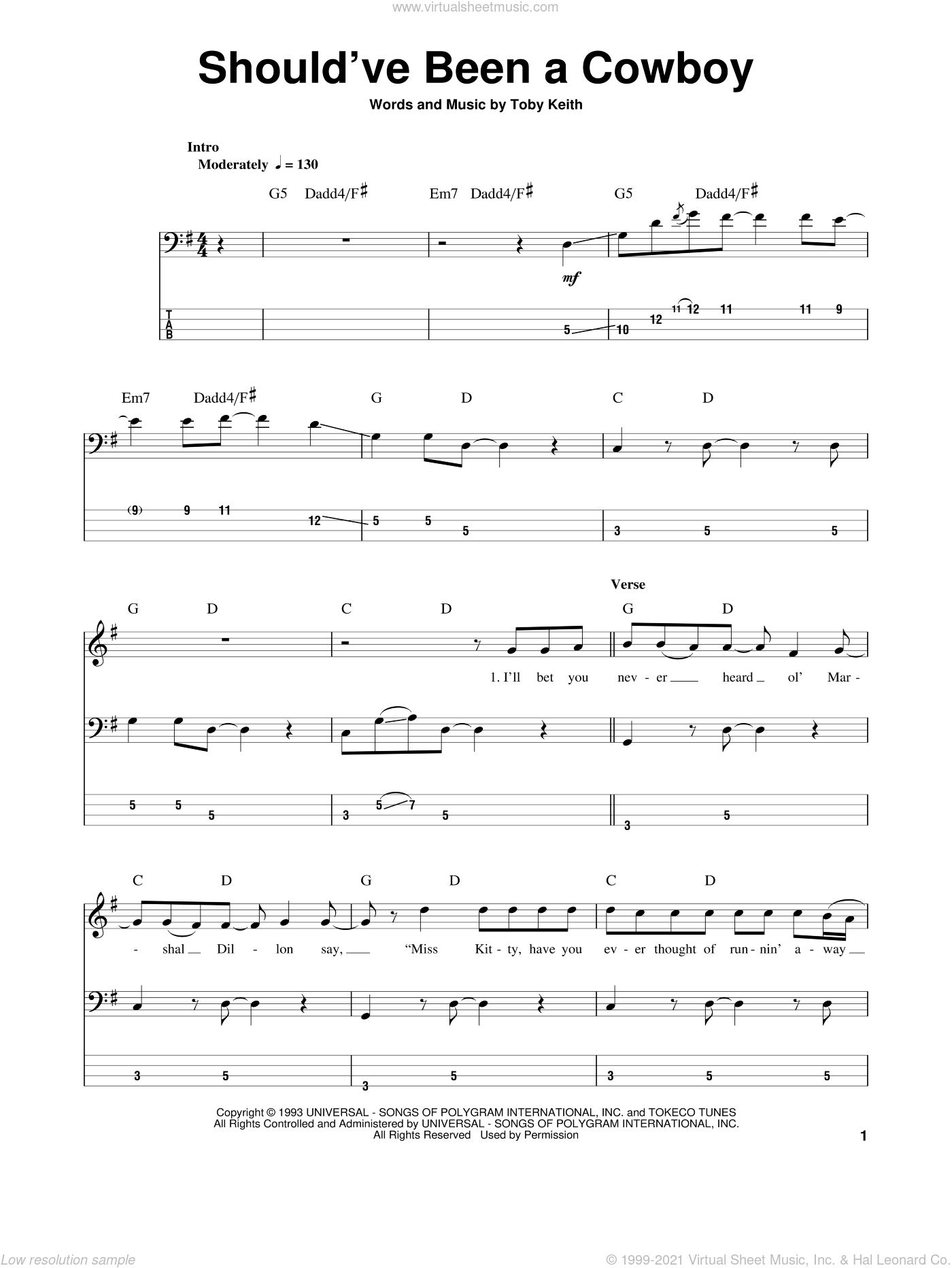 Should've Been A Cowboy sheet music for bass (tablature) (bass guitar) by Toby Keith. Score Image Preview.