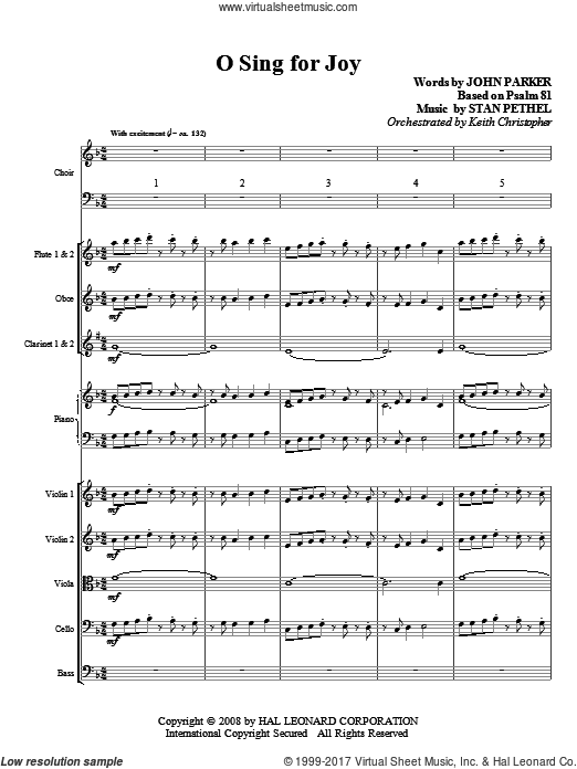 O Sing For Joy! (COMPLETE) sheet music for orchestra by Stan Pethel