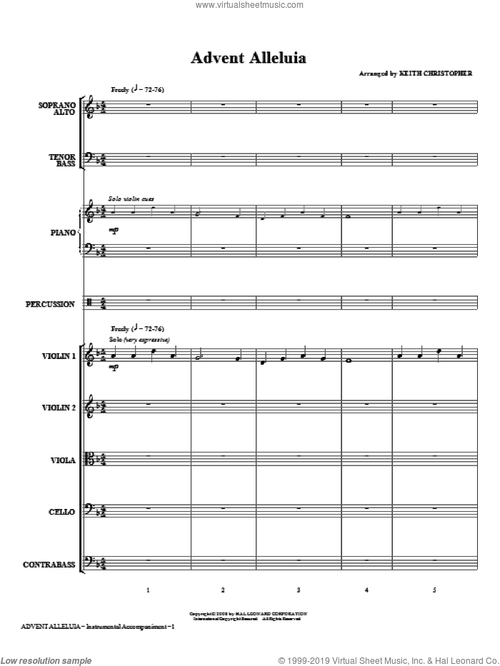 Advent Alleluia (COMPLETE) sheet music for orchestra/band (Special) by Keith Christopher and Miscellaneous, Christmas carol score, intermediate orchestra/band (Special). Score Image Preview.