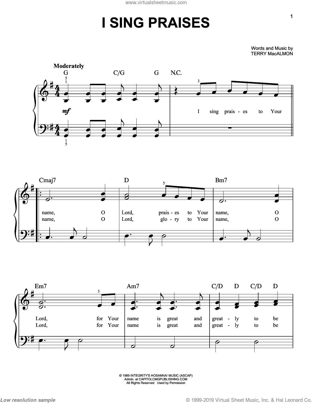I Sing Praises sheet music for piano solo by Terry MacAlmon, easy. Score Image Preview.