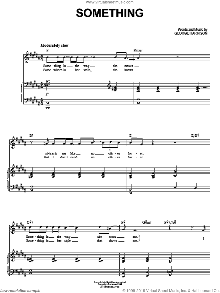 Something sheet music for voice and piano by The Beatles, Across The Universe (Movie) and George Harrison, intermediate skill level