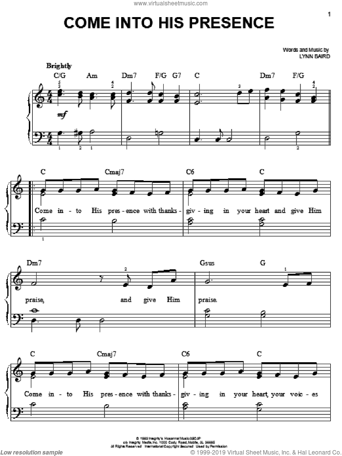 Come Into His Presence sheet music for piano solo by Lynn Baird, easy skill level