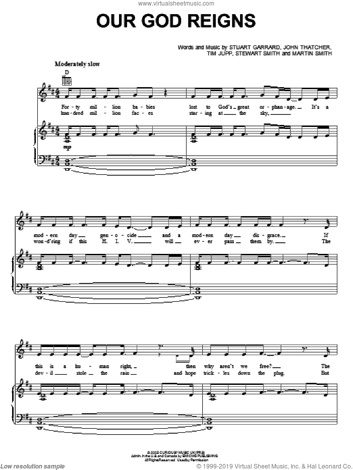 Our God Reigns sheet music for voice, piano or guitar by Delirious?, John Thatcher, Martin Smith, Stewart Smith, Stuart Garrard and Tim Jupp, intermediate skill level