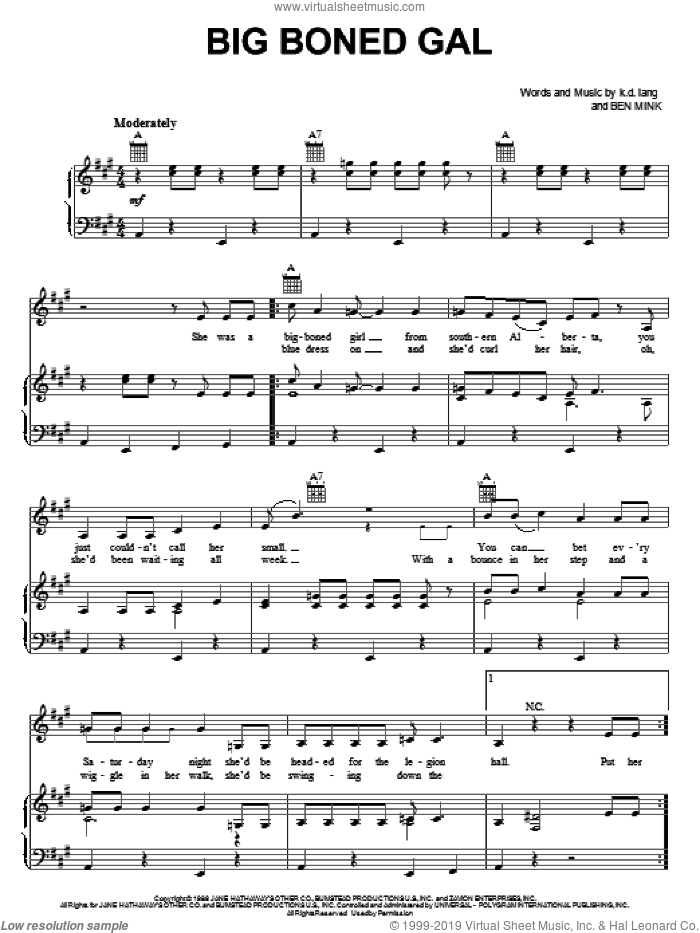 Big Boned Gal sheet music for voice, piano or guitar by K.D. Lang and Ben Mink, intermediate. Score Image Preview.