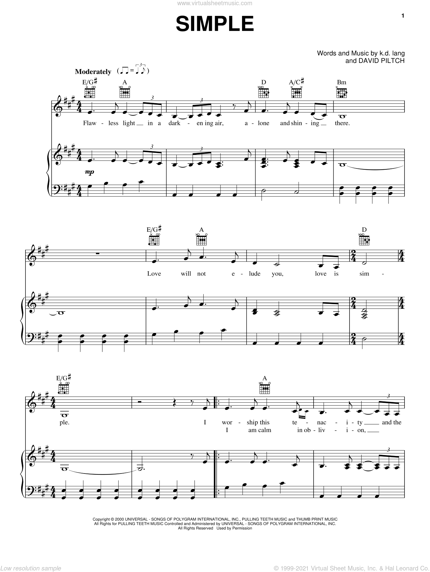 Simple sheet music for voice, piano or guitar by K.D. Lang and David Piltch, intermediate skill level