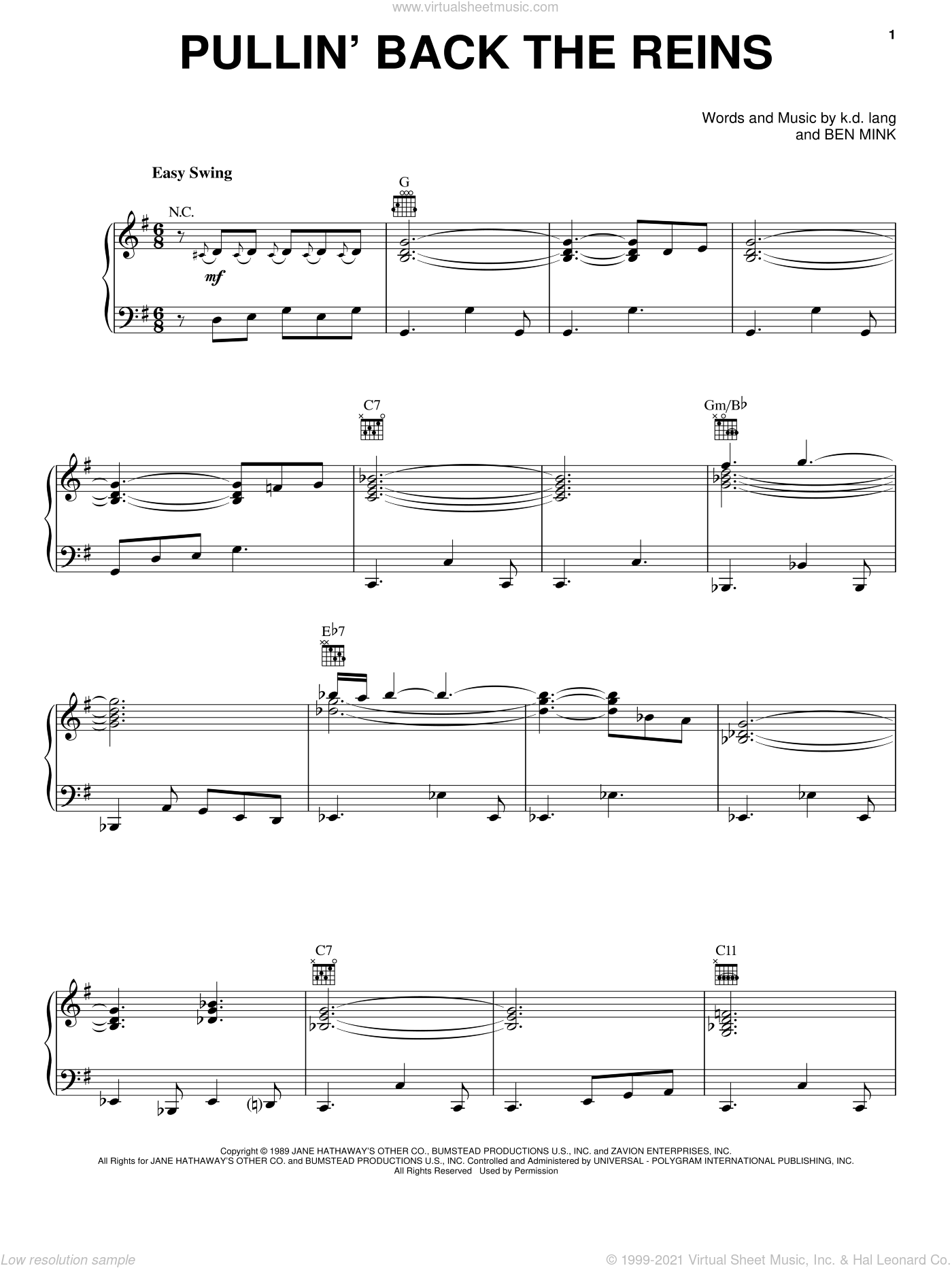 Pullin' Back The Reins sheet music for voice, piano or guitar by K.D. Lang and Ben Mink, intermediate skill level