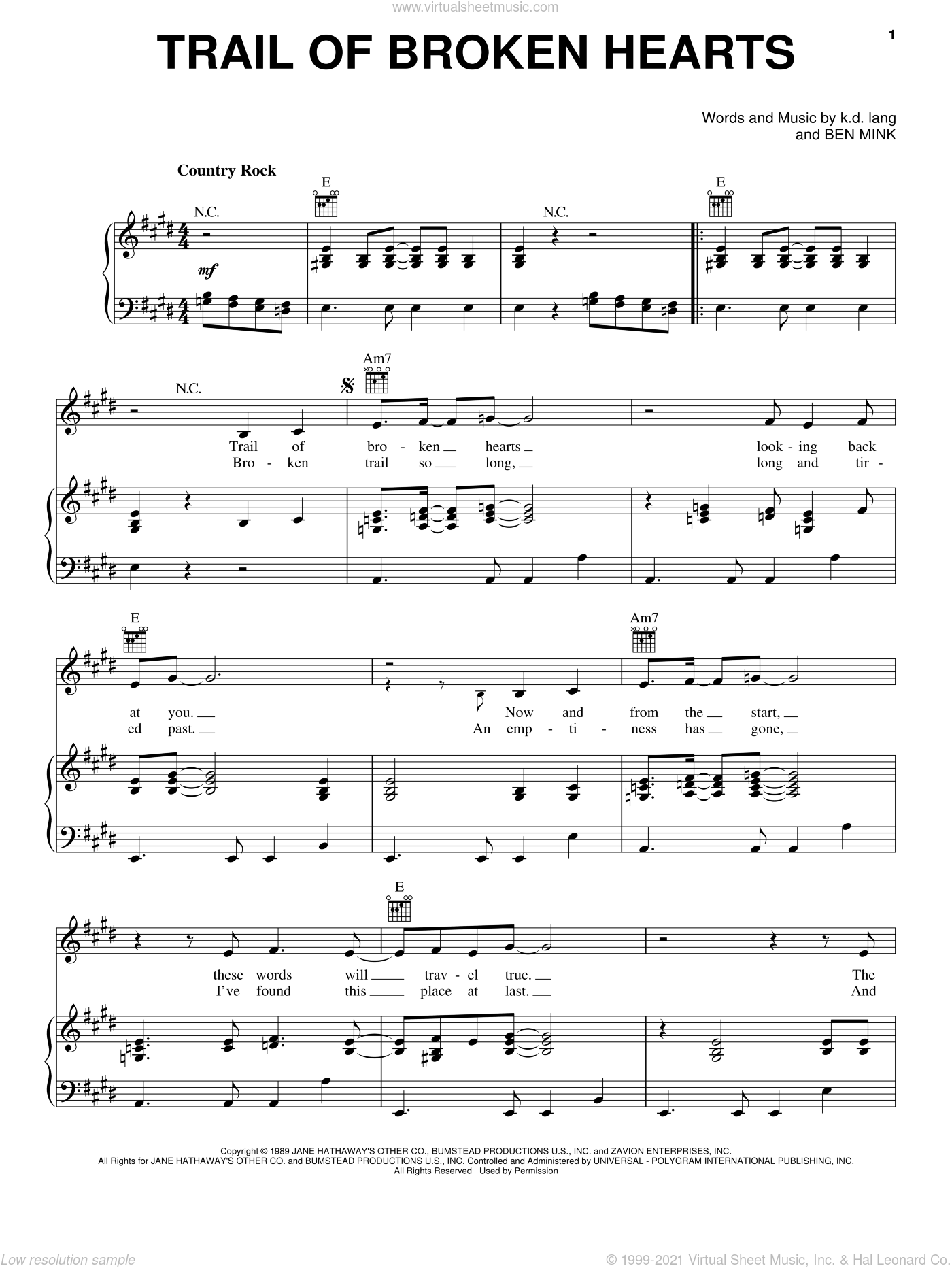 Trail Of Broken Hearts sheet music for voice, piano or guitar by K.D. Lang and Ben Mink, intermediate skill level