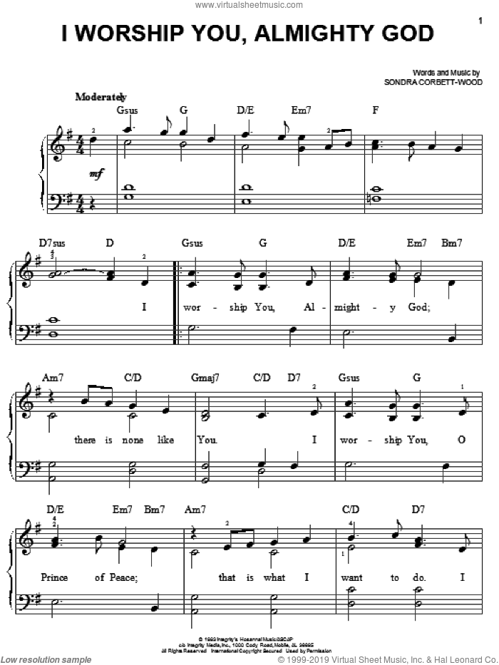 I Worship You, Almighty God sheet music for piano solo by Sondra Corbett-Wood, easy. Score Image Preview.