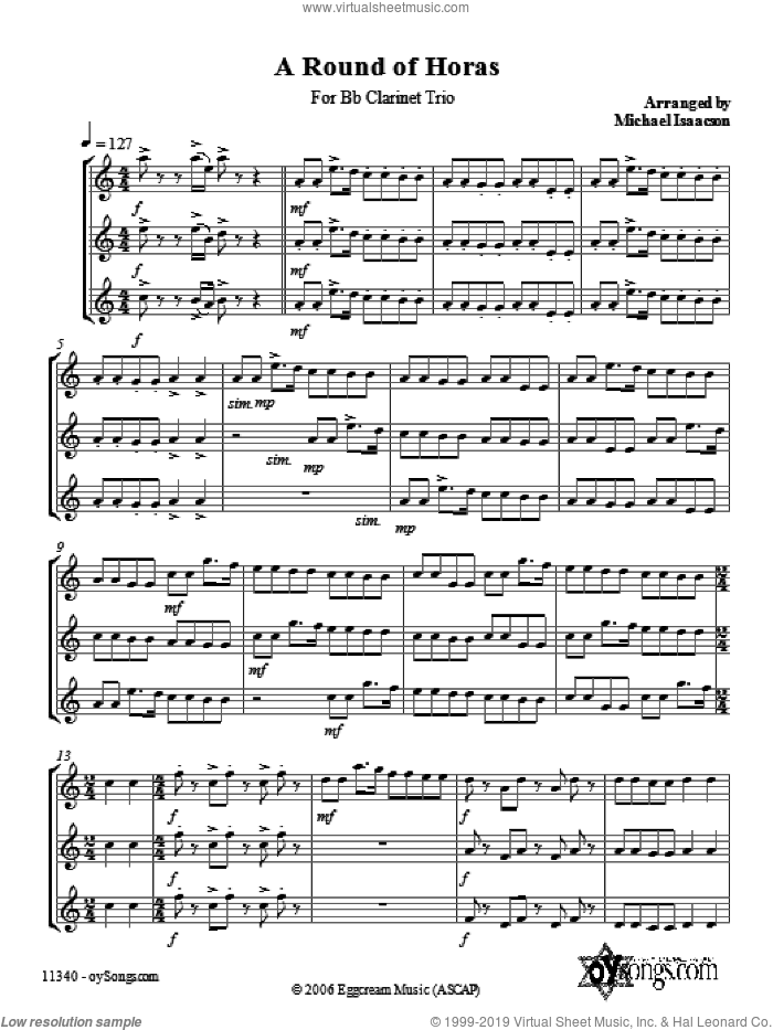 A Round of Horas sheet music for voice and other instruments (fake book) by Michael Isaacson, intermediate skill level
