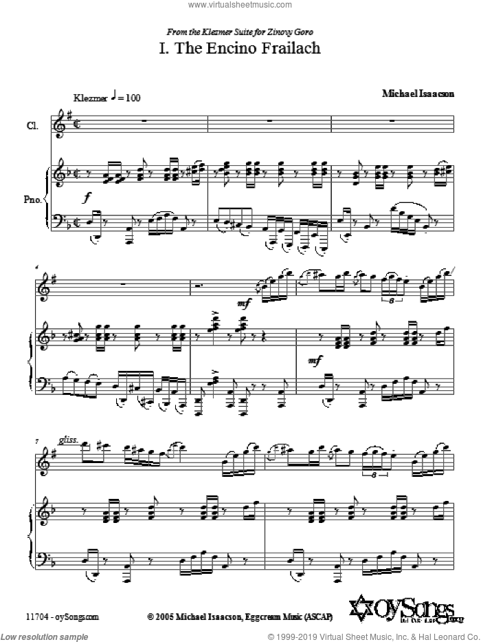 Encino Frailach sheet music for voice and other instruments (fake book) by Michael Isaacson, intermediate skill level