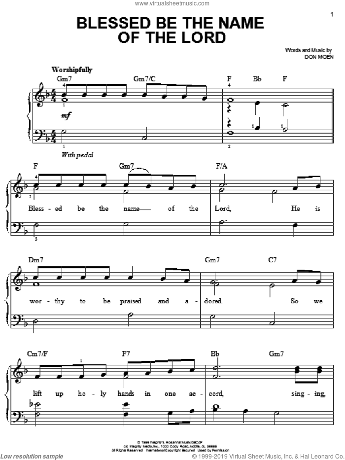 Blessed Be The Name Of The Lord sheet music for piano solo by Don Moen, easy skill level