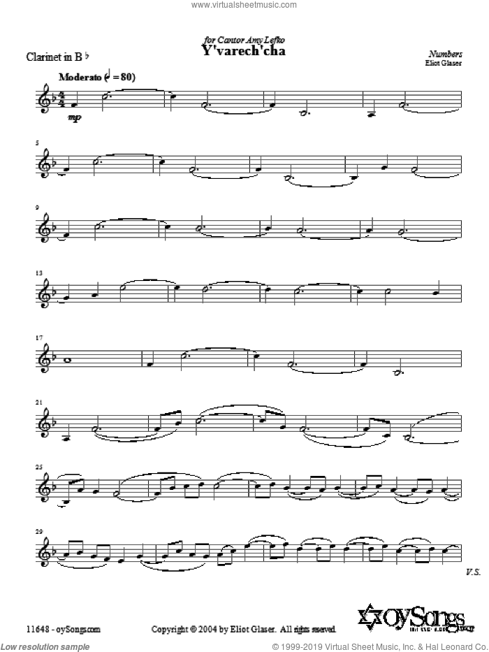 Y'varech'cha sheet music for voice and other instruments (fake book) by Eliot Glaser. Score Image Preview.