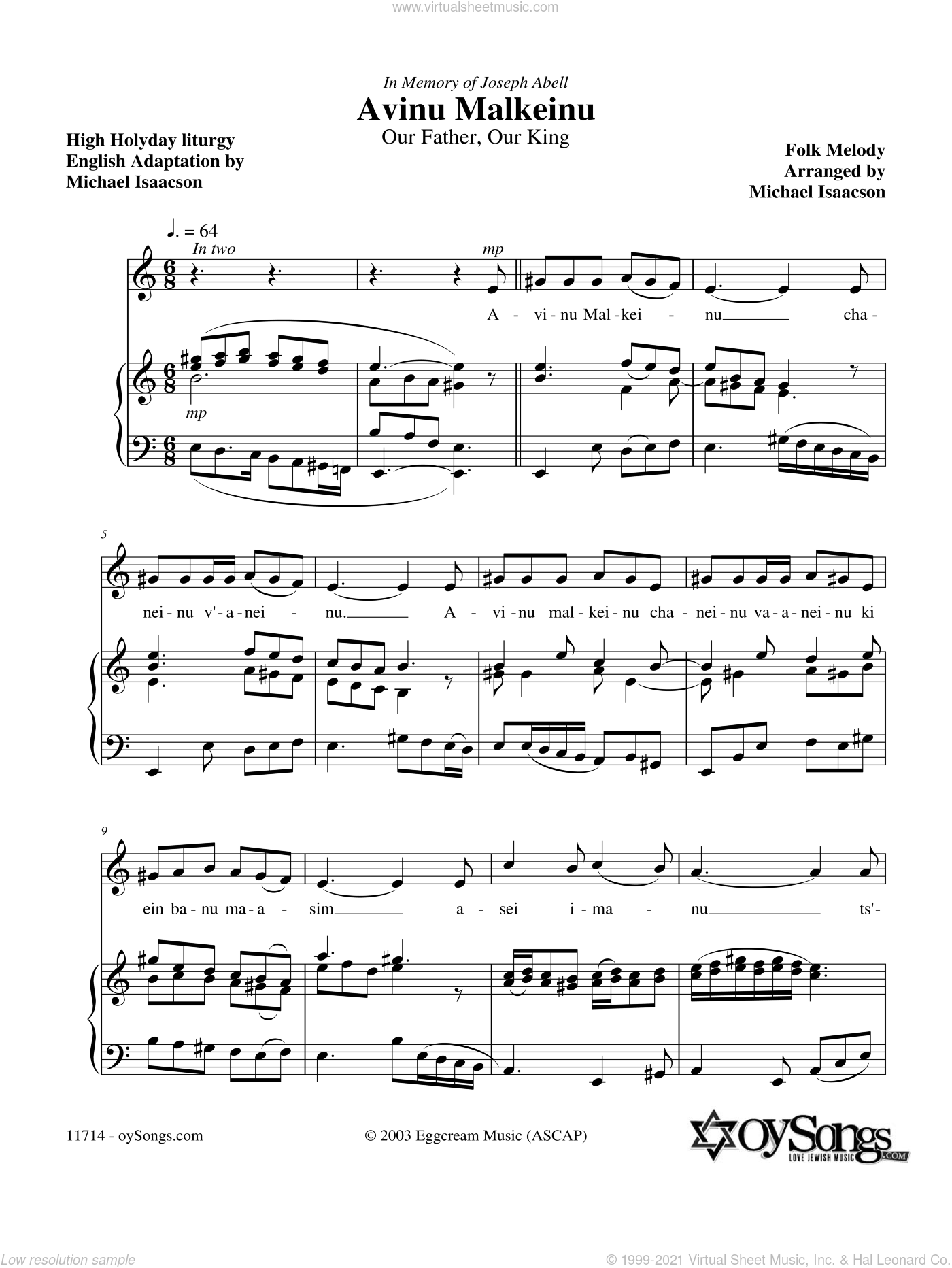 Avinu Malkeinu sheet music for piano solo by Michael Isaacson, intermediate piano. Score Image Preview.