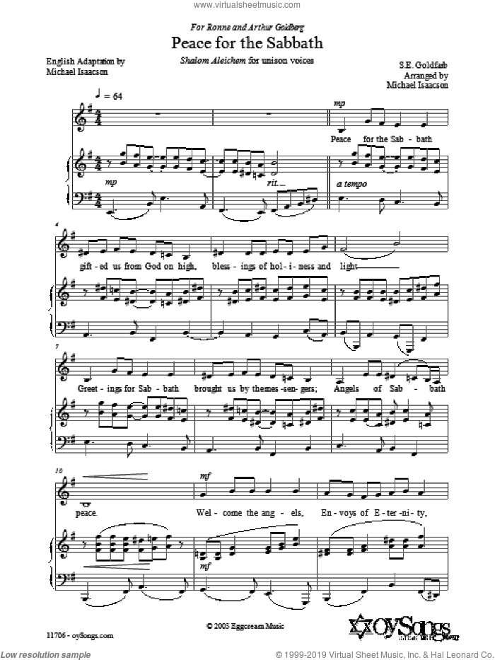 Peace for the Sabbath sheet music for piano solo by Samuel Goldfarb and Michael Isaacson. Score Image Preview.
