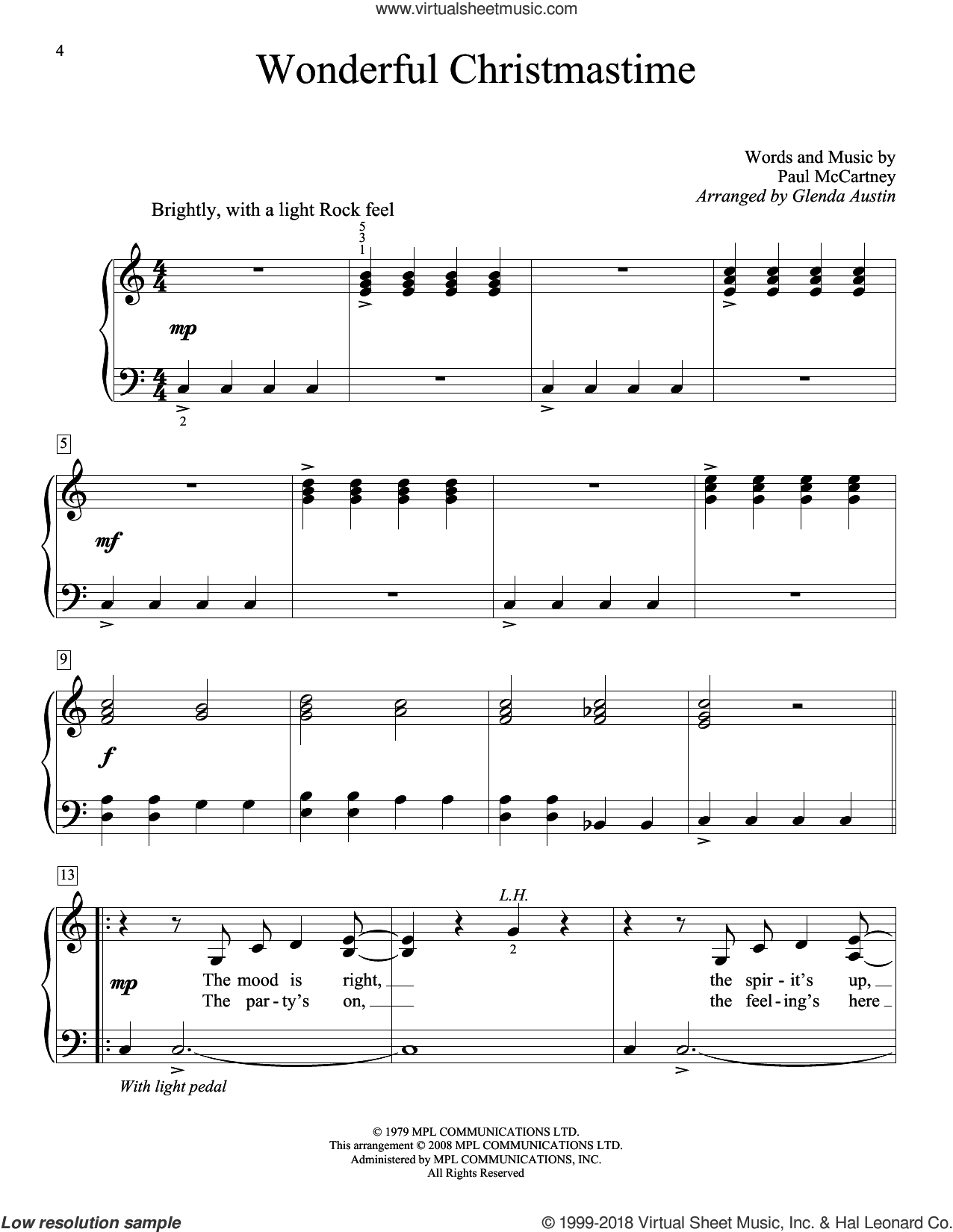 Wonderful Christmastime, (beginner) sheet music for piano solo (elementary) by Paul McCartney and Glenda Austin, beginner piano (elementary)