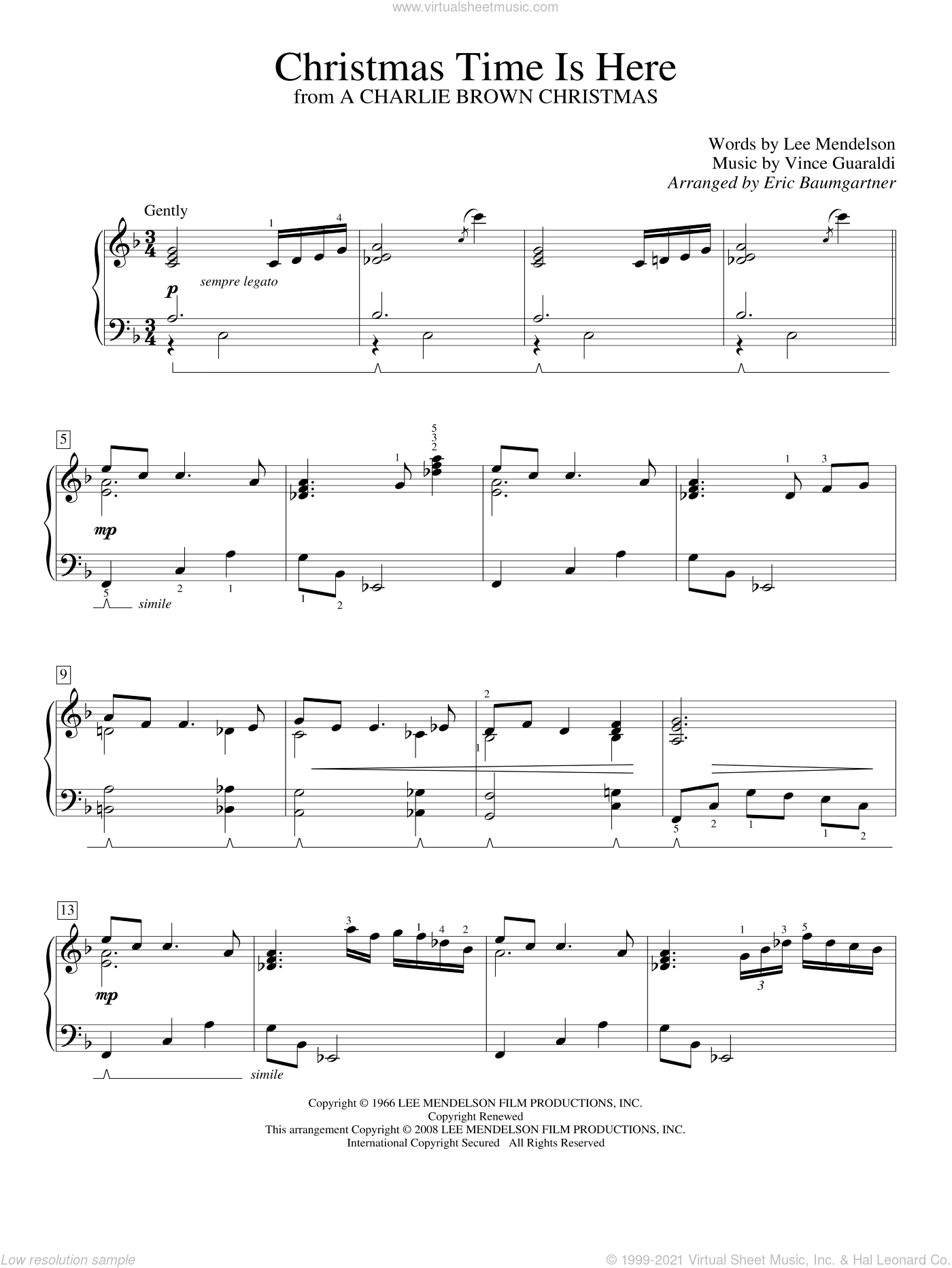 Christmas Time Is Here sheet music for piano solo (elementary) by Vince Guaraldi and Lee Mendelson, beginner piano (elementary)