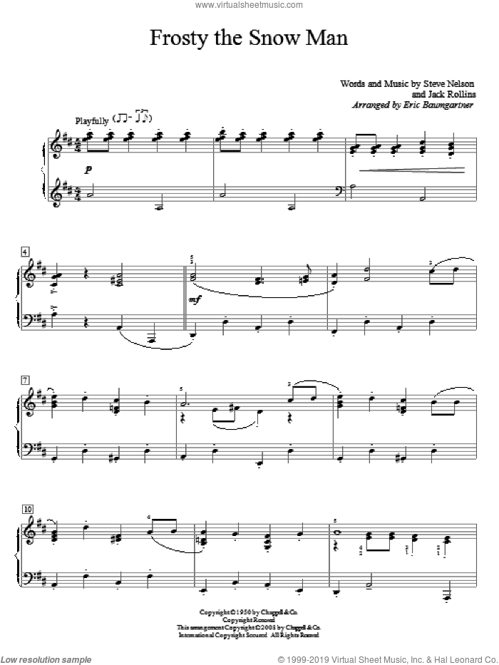 Frosty The Snow Man sheet music for piano solo (elementary) by Gene Autry, Eric Baumgartner, Jack Rollins and Steve Nelson. Score Image Preview.