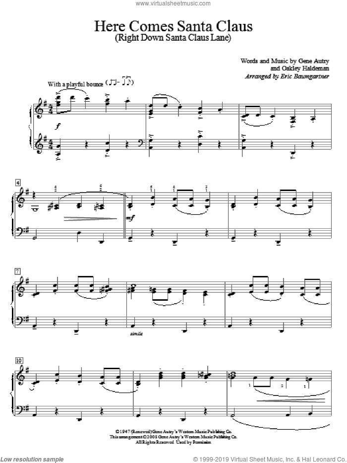 Here Comes Santa Claus (Right Down Santa Claus Lane) sheet music for piano solo (elementary) by Gene Autry, Eric Baumgartner and Oakley Haldeman, beginner piano (elementary)