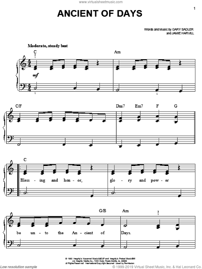 Ancient Of Days, (easy) sheet music for piano solo by Petra, Gary Sadler and Jamie Harvill, easy skill level