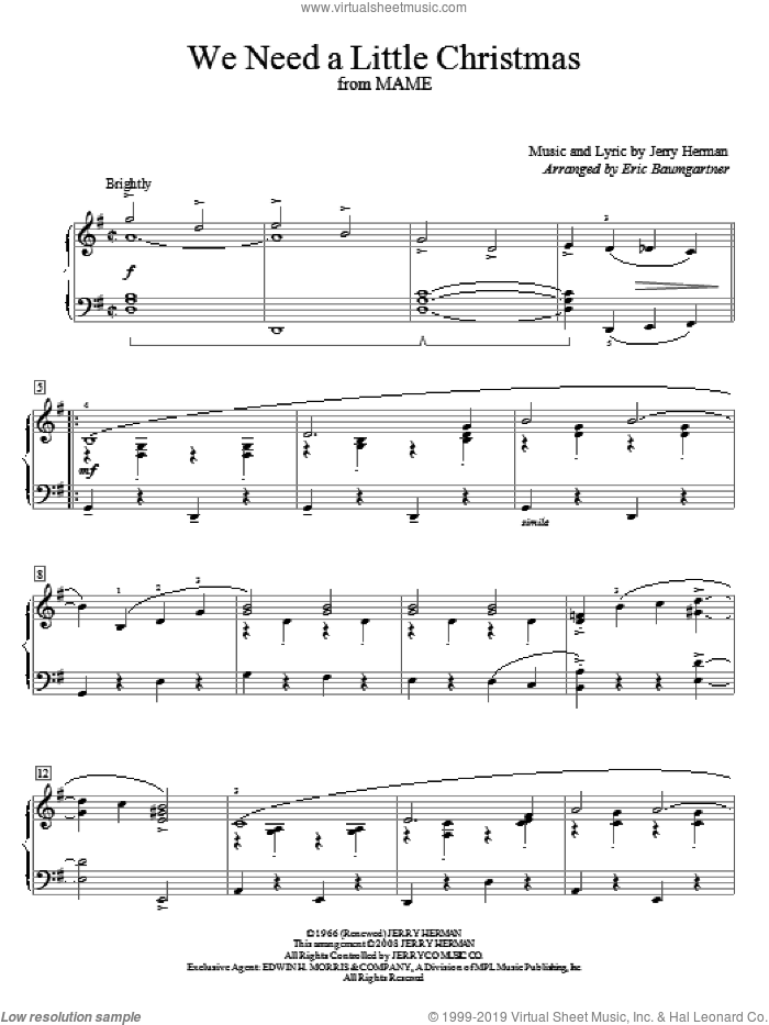 We Need A Little Christmas sheet music for piano solo (elementary) by Angela Lansbury, Eric Baumgartner, Mame (Musical) and Jerry Herman, beginner piano (elementary)