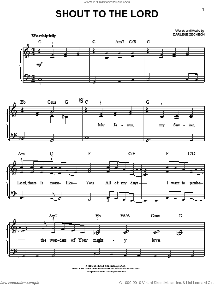 Shout To The Lord sheet music for piano solo by Carman and Darlene Zschech, easy skill level