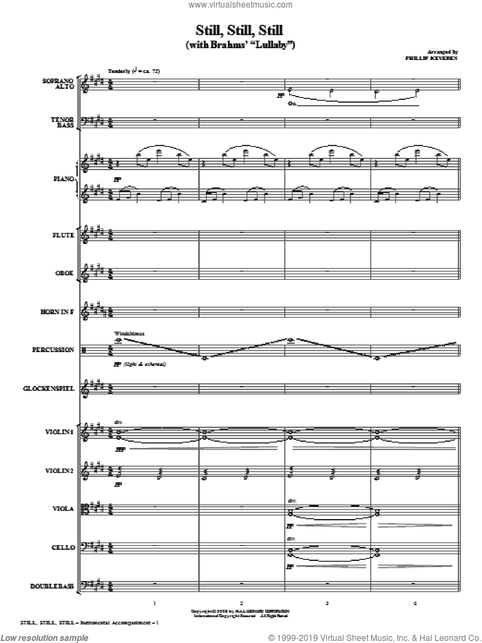Still, Still, Still (with Brahms' Lullaby) (COMPLETE) sheet music for orchestra/band (chamber ensemble) by Phillip Keveren, intermediate. Score Image Preview.