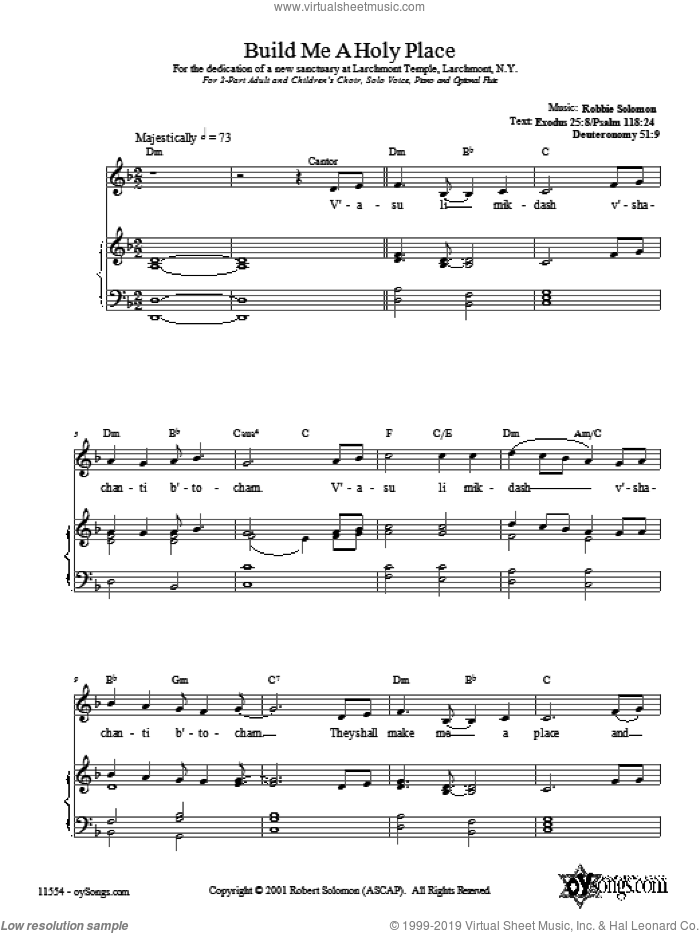 Build Me a Holy Place sheet music for choir (2-Part) by Robbie Solomon, intermediate duet