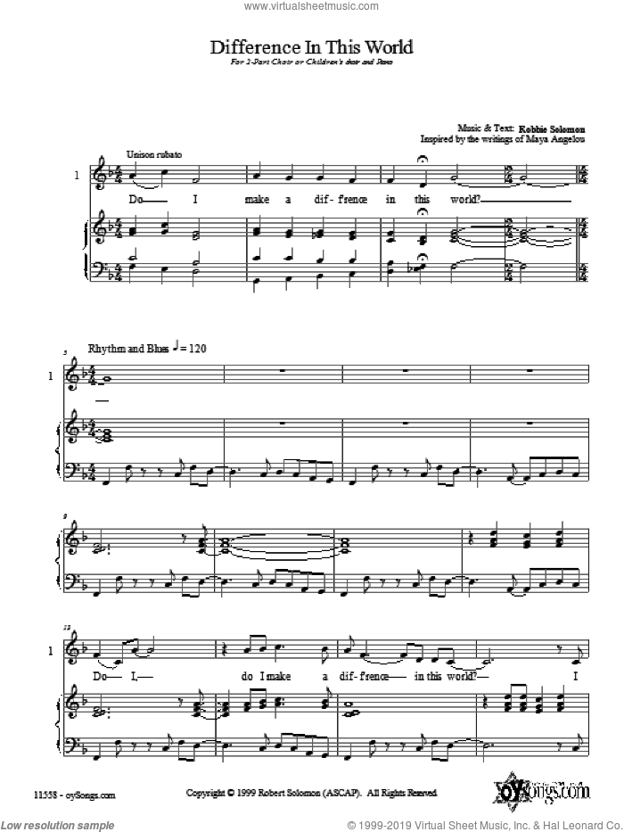 Difference In This World sheet music for choir (duets) by Robbie Solomon. Score Image Preview.