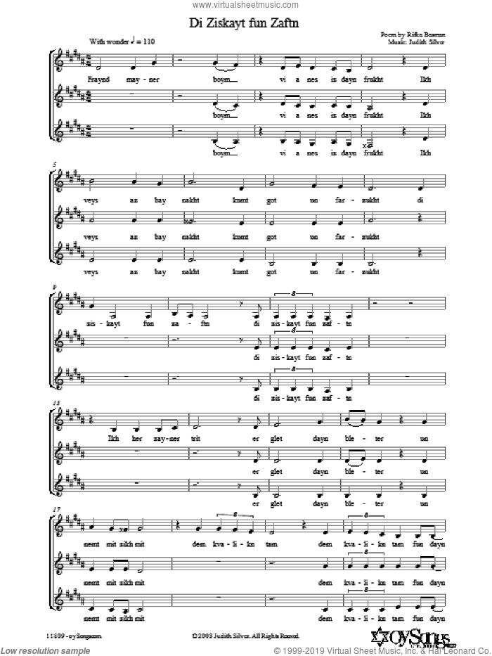 Di Ziskayt fun Zaftn sheet music for choir (3-Part Mixed) by Judith Silver, intermediate skill level