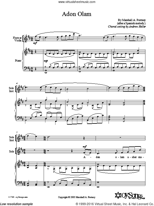 Adon Olam sheet music for choir and piano (Mixed ) by Anderew Heller and Marshall Portnoy