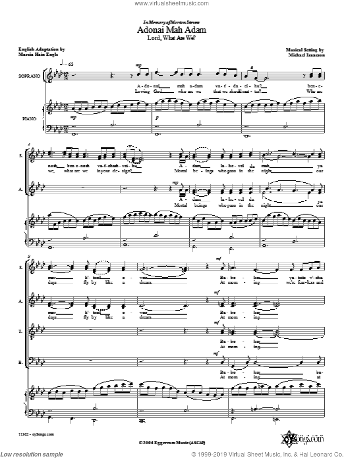 Adonai Mah Adam sheet music for choir and piano (SATB) by Michael Isaacson. Score Image Preview.