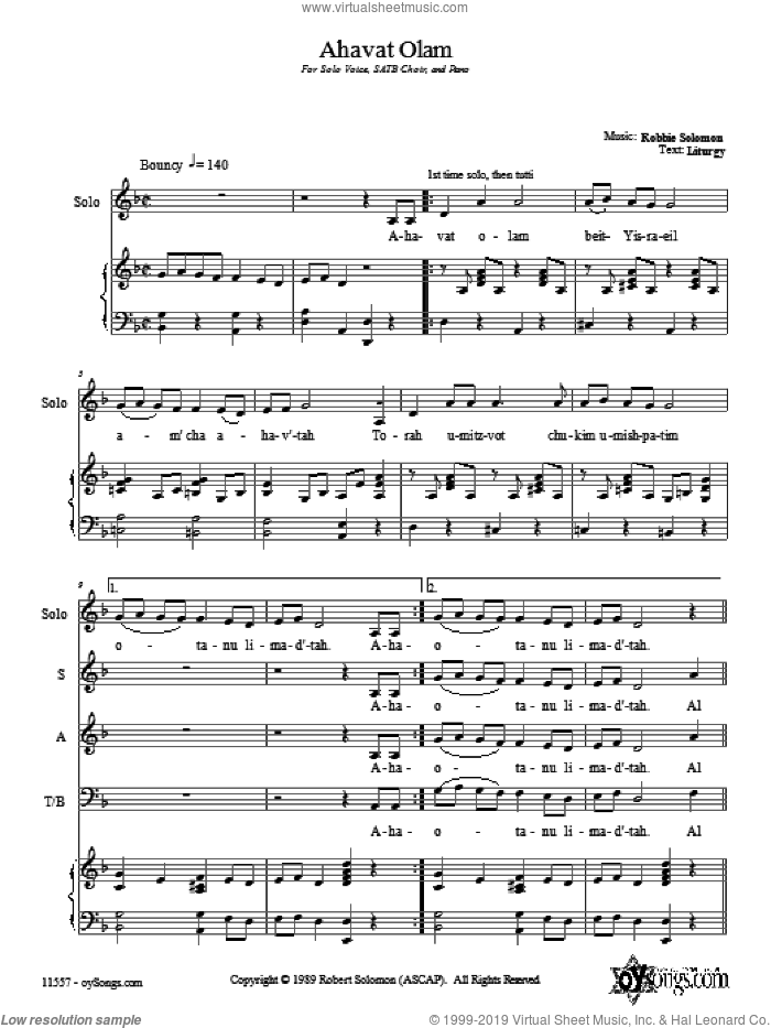 Ahavat Olam sheet music for choir and piano (SATB) by Robbie Solomon