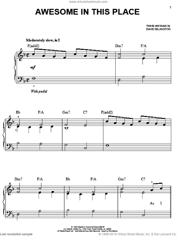 Awesome In This Place sheet music for piano solo by David Billington, easy. Score Image Preview.