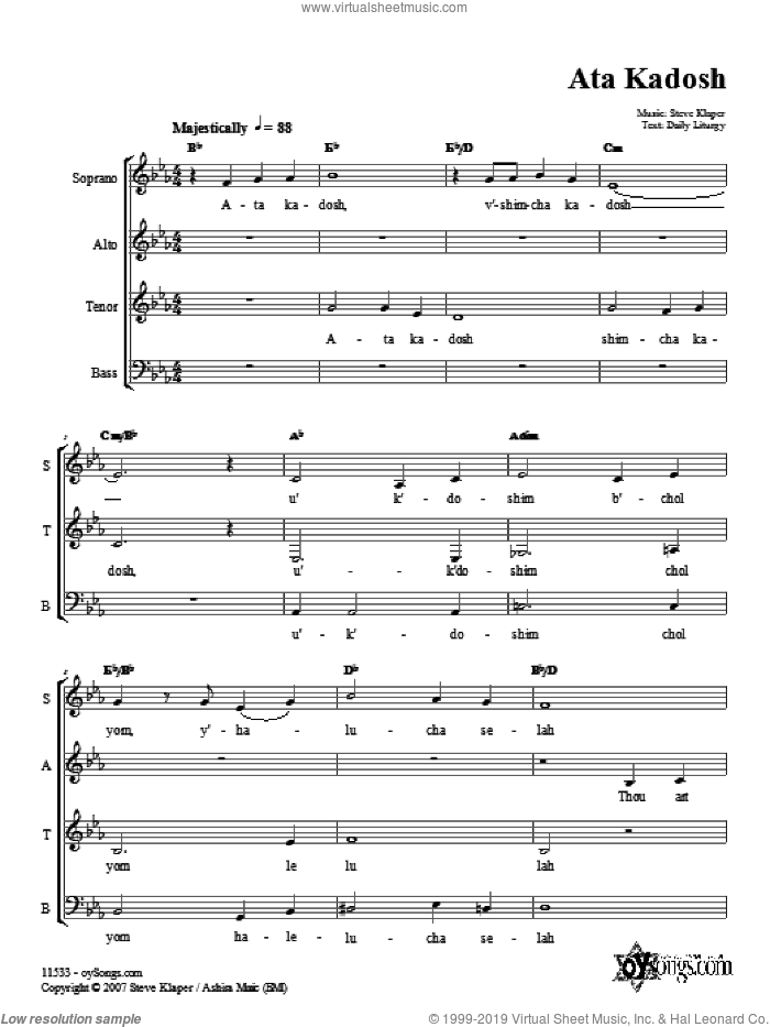 Ata Kadosh sheet music for choir (SATB: soprano, alto, tenor, bass) by Steve Klaper, intermediate. Score Image Preview.