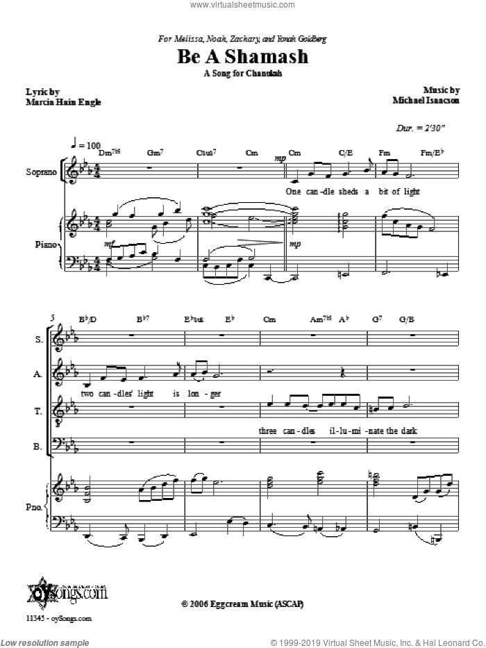 Be a Shamash sheet music for choir and piano (SATB) by Marcia Hain Engle and Michael Isaacson. Score Image Preview.