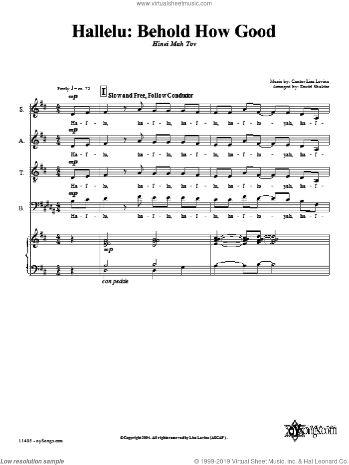 Behold How Good sheet music for choir (SATB: soprano, alto, tenor, bass) by Lisa Levine and David Shukiar, intermediate skill level