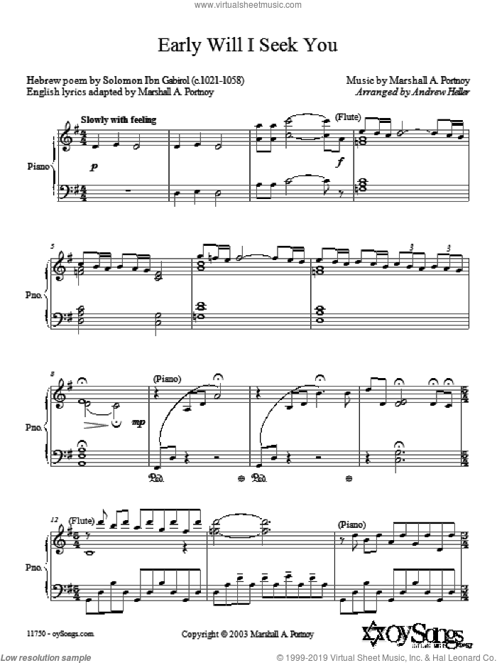 Early Will I Seek You sheet music for choir and piano (SATB) by Anderew Heller. Score Image Preview.