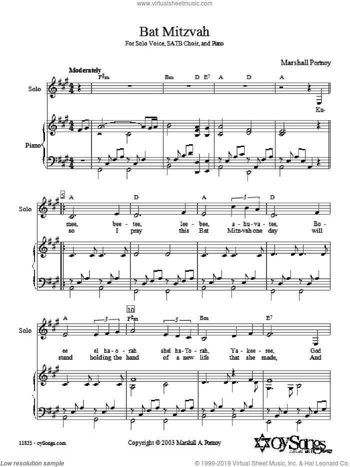 Bat Mitzvah sheet music for choir and piano (SSA) by Marshall Portnoy