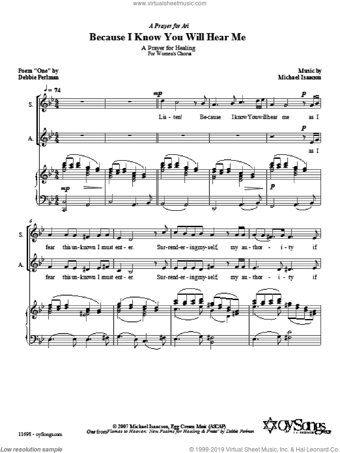 Because I Know You Will Hear Me sheet music for choir (soprano voice, alto voice, choir) by Debbie Perlman and Michael Isaacson. Score Image Preview.