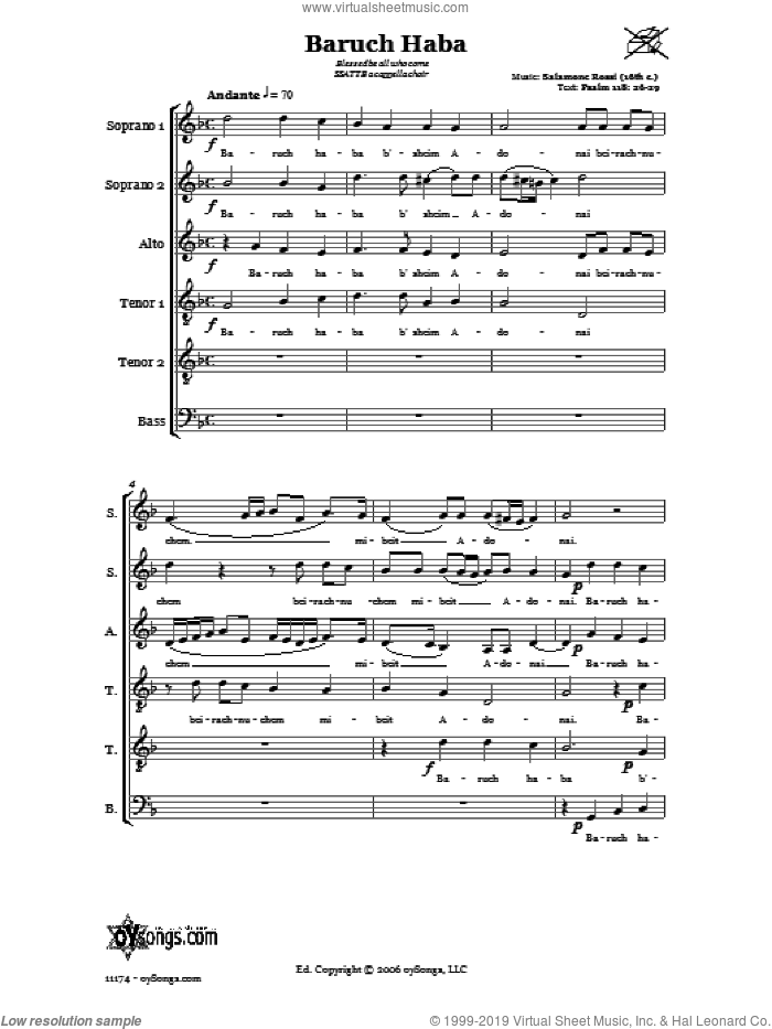 Baruch Haba (Blessed be all who come) sheet music for choir and piano (SSA, TTB) by Salamone Rossi. Score Image Preview.