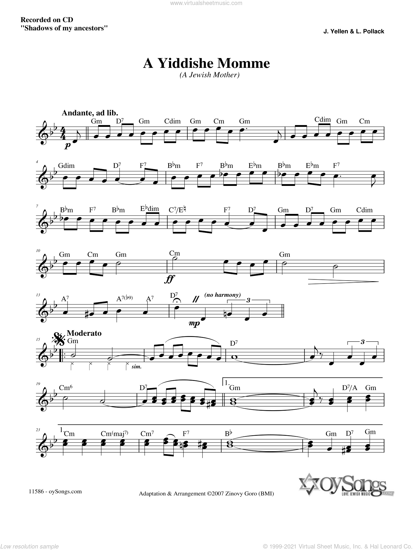 A Yiddishe Momme sheet music for voice and other instruments (fake book) by Zinovy Goro. Score Image Preview.