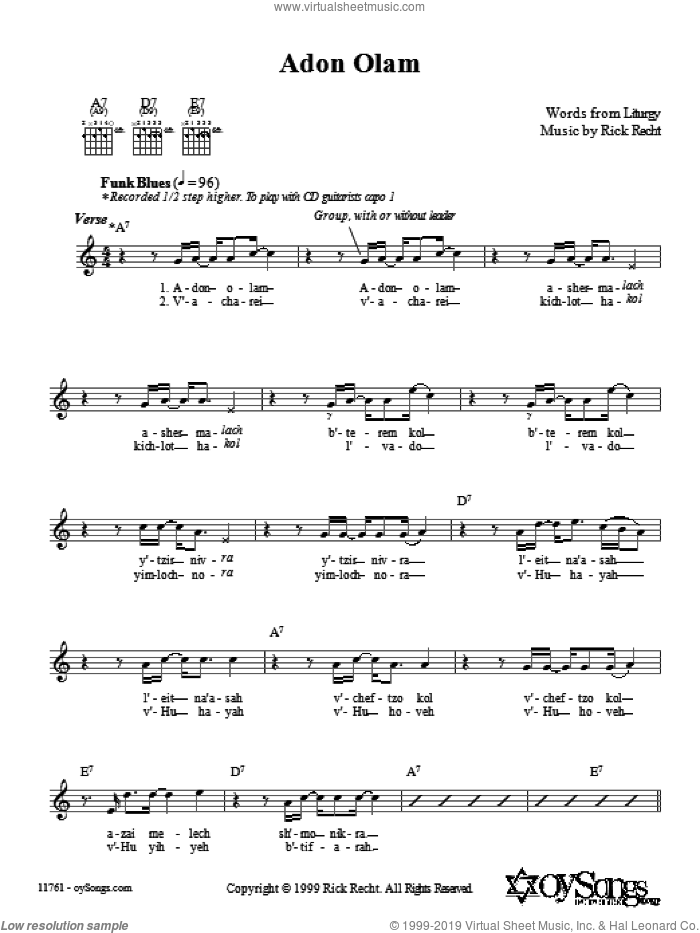 Adon Olam sheet music for voice and other instruments (fake book) by Rick Recht. Score Image Preview.