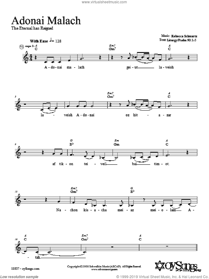 Adonai Malach sheet music for voice and other instruments (fake book) by Rebecca Schwartz, intermediate. Score Image Preview.